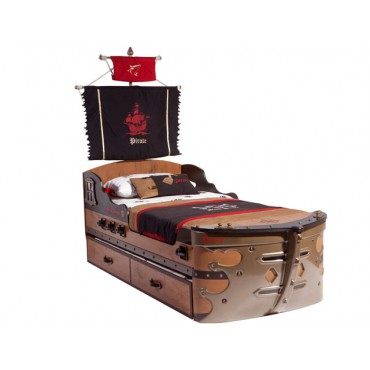 Pirate Ship Bed & Pull-out Bed 90x190cm/90x180cm