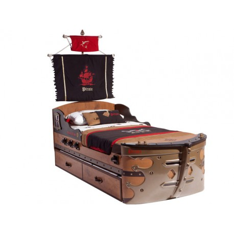 Pirate Ship Bed & Pull-out Bed 90x190cm/90x180cm -Beds