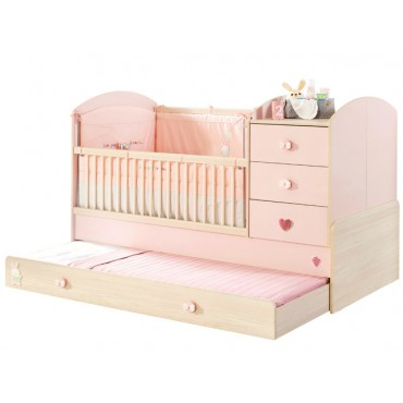 Baby Girl convertible baby bed with parent bed