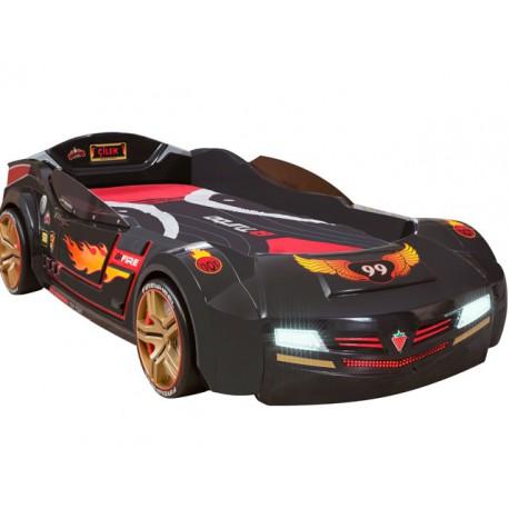 Cama coche Biturbo negro con colchón -Car beds